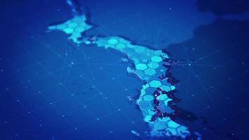 mapa hexágono digital do mapa do japão