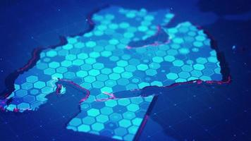 Digital Hexagon Map of The Middle East video