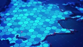 mapa hexágono digital da ásia