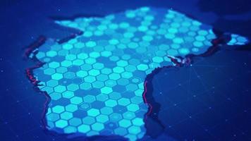 mapa hexagonal digital del mapa de australia. video