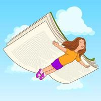 Girl flying between clouds her wings are a book vector