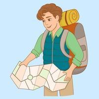 turista sosteniendo un mapa vector