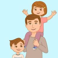 Dad with his daughter on the shoulder and his son, enjoying fatherhood vector