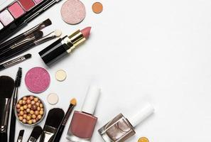 Flat lay of makeup with copy space photo