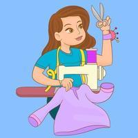 mujer en casa cosiendo ropa vector