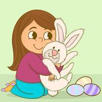 niña abrazando conejito de pascua vector