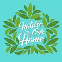 House shaped leaves with lettering vector