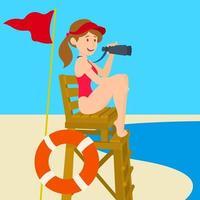 chica salvavidas en la playa vector