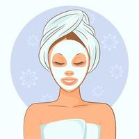 Spa woman with a beauty mask vector
