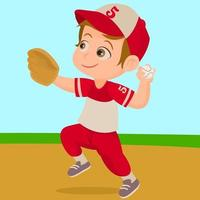 niño jugando béisbol en el estadio vector