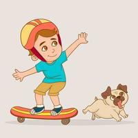 Boy skateboarding with his puppy vector