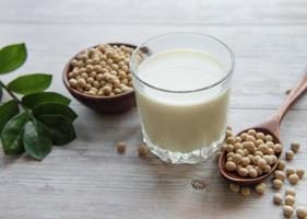 Soy milk and soy on the table photo