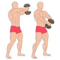hombre haciendo pesas en el gimnasio. ejercitar los músculos en el gimnasio vector