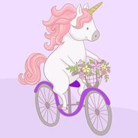 Little unicorn is riding a bicycle vector