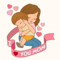 Mom tenderly hugs her baby in her arms vector