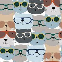 Cat head seamless pattern vector