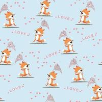 Cartoon cute spring foxes catching hearts vector