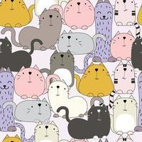 Cat smile in a diverse action cartoon vector