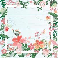 Botanical tropical flower frame vector