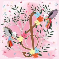Colorful Birds and music note flower tree vector