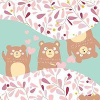 3 osos de peluche tontos peek a boo, para tarjeta de cumpleaños vector