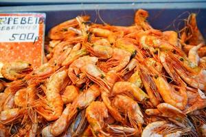 Pile of shrimp in a market in Vladivostok, Russia