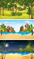 Set of three different forest horizontal scenes vector