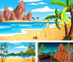 Three different nature horizontal scenes vector