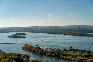 Aerial view of a marina in the Angara River in Irkutsk, Russia photo