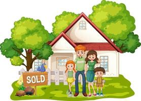 Family standing in front of a house for sale on white background vector