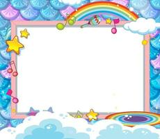 Blank banner on mermaid scales background vector