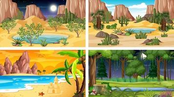 Four different nature horizontal scenes vector