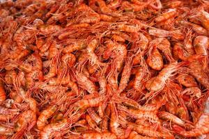 Pile of cooked prawns
