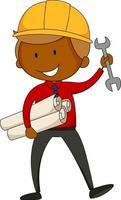 Little engineer doodle cartoon character isolated vector
