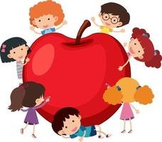 Big apple with many kids cartoon character vector