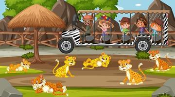 Safari scene with kids on tourist car watching leopard group vector