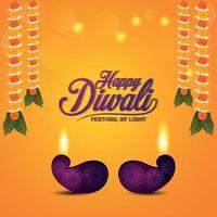 Happy diwali indian festival celebration greeting card with vector illustration of diwali diya
