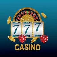 Casino gambling game background with slot machine and roulette wheel vector