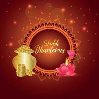 tarjeta de felicitación de celebración feliz dhanteras con olla de monedas creativa vector