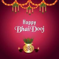 tarjeta de felicitación de bhai dooj con flor de guirnalda creativa con kalash dorado vector