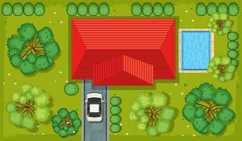 Top view of a house with garden area vector