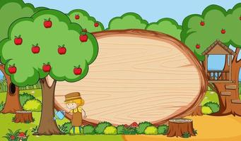 Garden scene with blank wooden board in oval shape with gardener doodle cartoon character vector