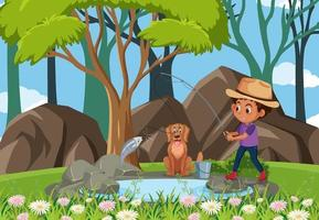 Boy fishing at the forest vector