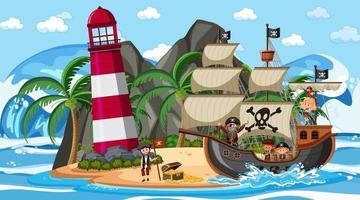 playa en escena diurna con personaje de dibujos animados de niños piratas en el barco vector