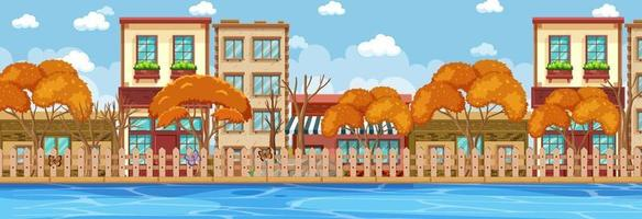 Many buildings along the river horizontal scene at day time vector