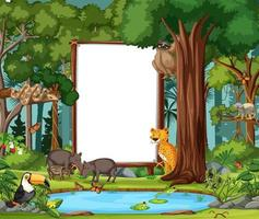 Forest scene with empty banner and many wild animals vector