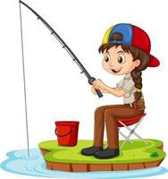 A girl cartoon character sitting and fishing on white background vector