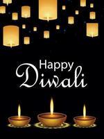 Happy diwali celebration poster or greeting card design vector