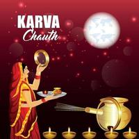 Happy Karwa Chauth festival card with diya and karwa chauth equipment and Background vector