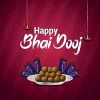 tarjeta de felicitación de invitación feliz bhai dooj con ilustración creativa y dulce vector